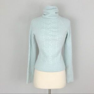 Bebe Small Angora Turtleneck Sweater Blue